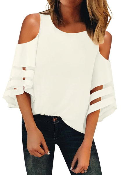 Front view of model wearing white 34 bell mesh panel sleeves cold-shoulder loose top