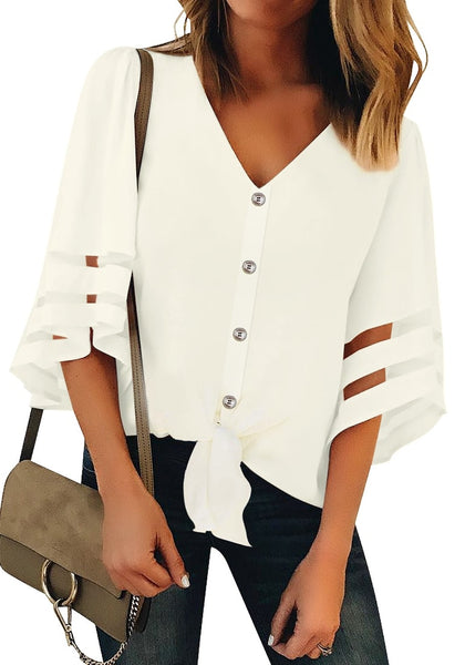 Front view of model wearing white 34 bell mesh panel sleeves tie-front button-up loose top