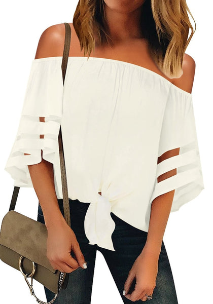 Front view of model wearing white 34 bell mesh panel sleeves tie-front off-shoulder top