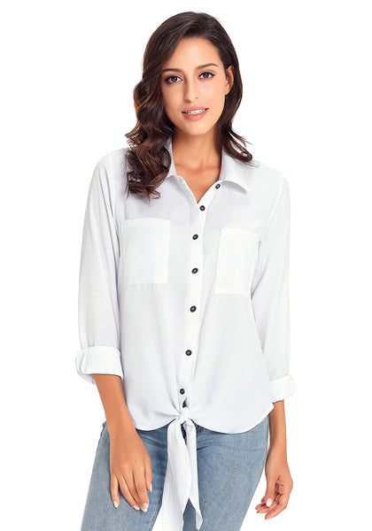 4c814c1d1ba ... Front view of model wearing white 34 sleeves tie-front button-up blouse.