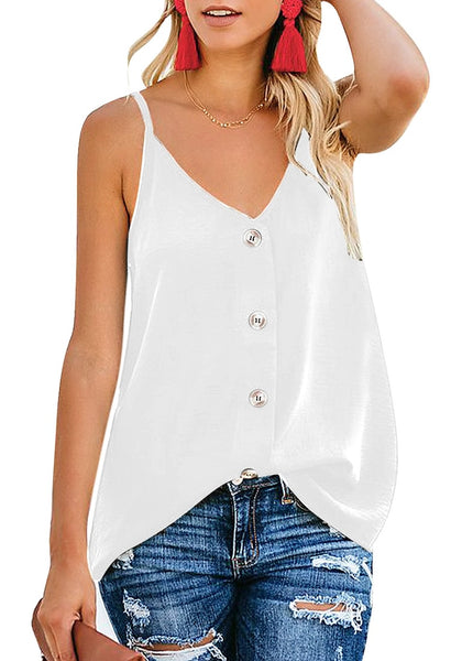 White V Neck Button Down Loose Tank Top Lookbook Store