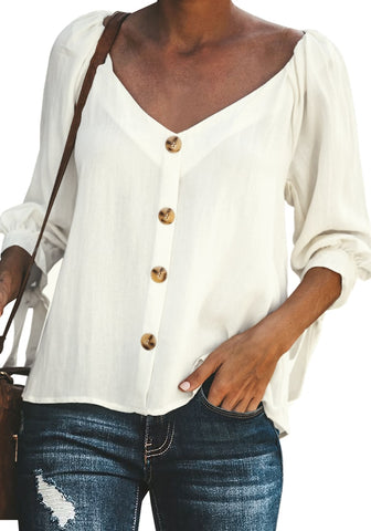 f86fa4eb108acd White V-Neckline 3/4 Puffed Sleeve Button-Up Loose Top