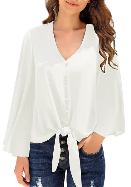 White V-Neckline Button Loop Loose Top