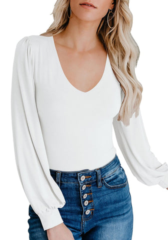 White Bishop Sleeves Rounded V-Neckline Bodysuit