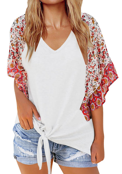 Front view of model wearing white boho-print flutter raglan sleeves tie-front top
