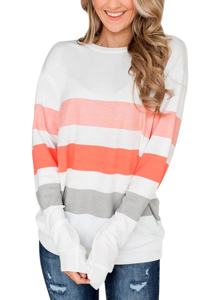 Front view of model wearing white color block striped pullover sweatshirt