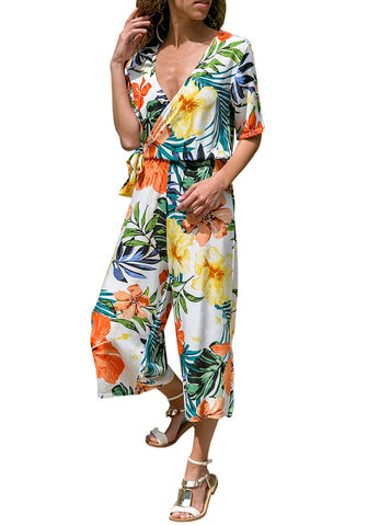 White Floral-Print Wide-Leg Surplice Jumpsuit