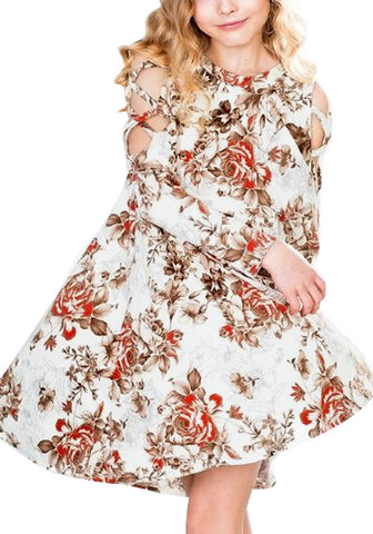 White Floral Crisscross Cold-Shoulder Short Flowy Girl Dress