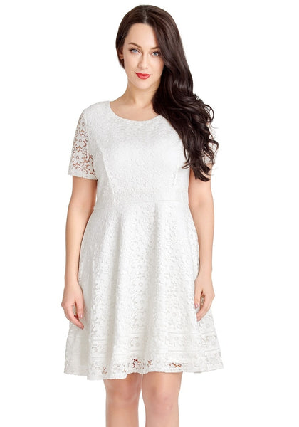 Front view of model wearing white floral hollow lace short sleeves skater dress