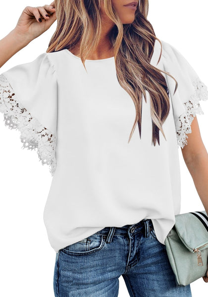 Front view of model wearing white flutter sleeves lace trim loose blouse