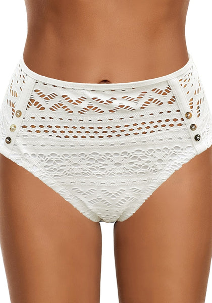 Front view of model wearing white high-waist hollow out crochet bikini bottom