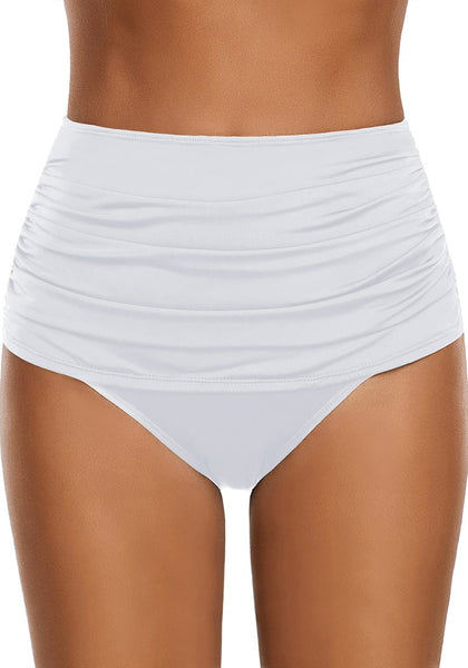 Front view of model wearing white high waist ruched swim bottom