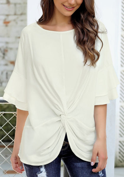 Front view of model wearing white layered flared sleeves twist-knot loose top