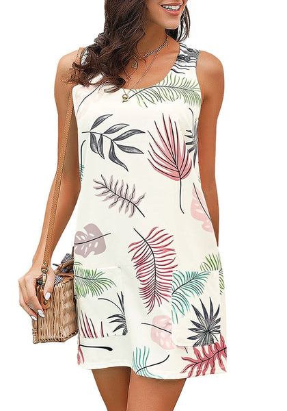 White Leaf-Print Sleeveless Short Shift Dress