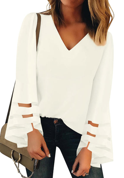 Front view of model wearing white long bell mesh panel sleeves V-neckline loose top