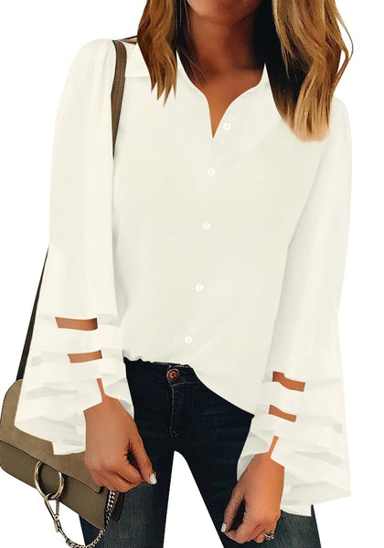 Front view of model wearing white long bell mesh sleeves collared button-up top