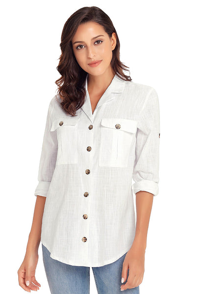Front view of model wearing white long cuffed sleeves lapel button-up blouse