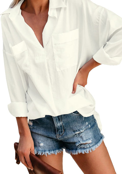 Front view of model wearing white long sleeves lapel collar high-low loose top