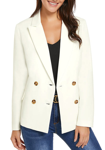 Front view of model wearing white notch lapel double breasted blazer
