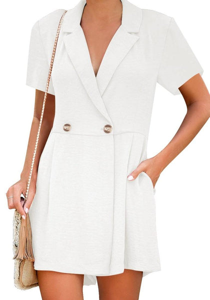Front view of model wearing white notch lapel double breasted wrap romper