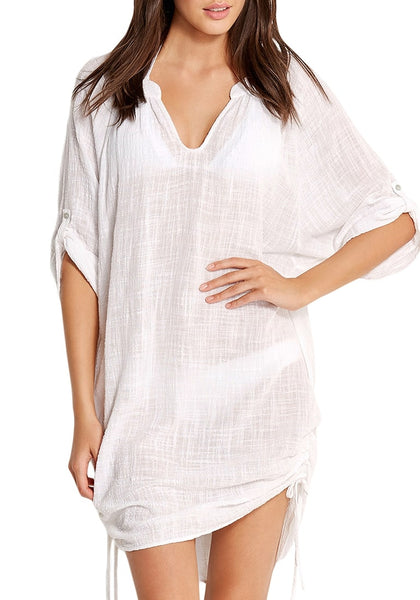 Front view of model wearing white roll-up sleeves drawstring sides beach cover-up