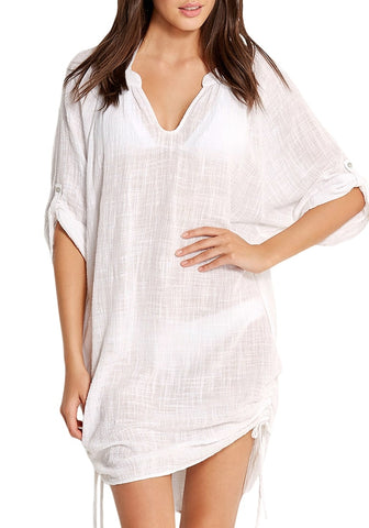 White Roll-Up Sleeves Drawstring Sides Beach Cover-Up