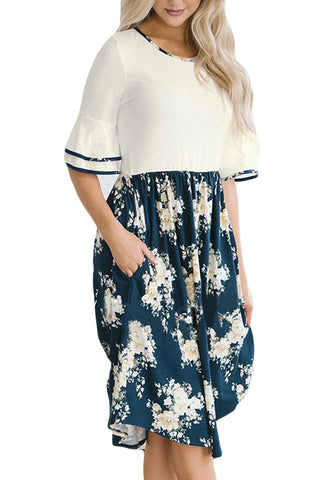 White Ruffle Sleeves Floral Midi Dress