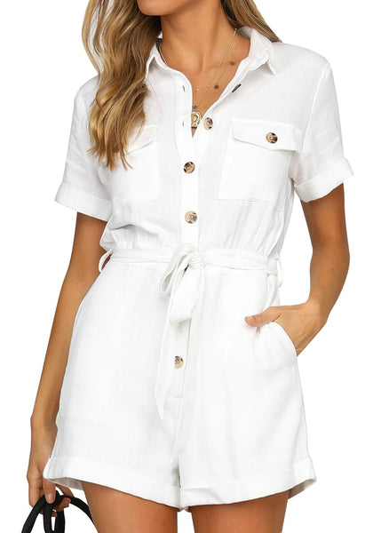 Front view of model wearing white short sleeves button-down belted romper