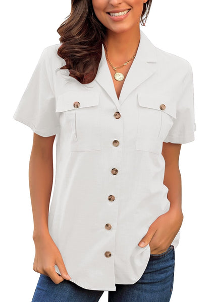 Front view of model wearing white short sleeves lapel button-up blouse