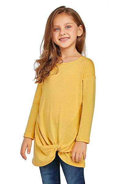 Front view of model wearing yellow long sleeves front twist knot girl top