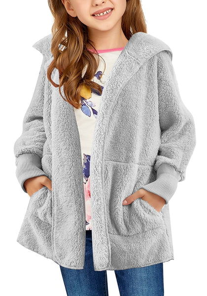 Front view of model wearring grey snuggle fuzzy fleece hooded girl's jacket