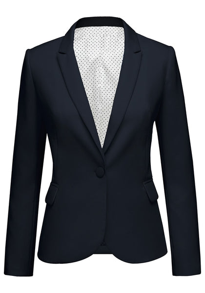 Front view of navy back-slit notched lapel blazer's 3D image