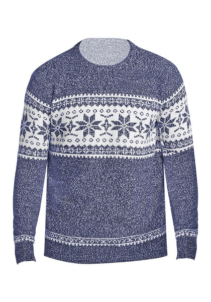 Front view of navy blue melange snowflake men's Christmas sweater 3D image