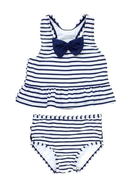 Front view of navy bow-front striped ruffle two-piece baby swimsuit's 3D image