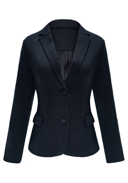 Front view of navy flap pocket single breasted lapel blazer's 3D image