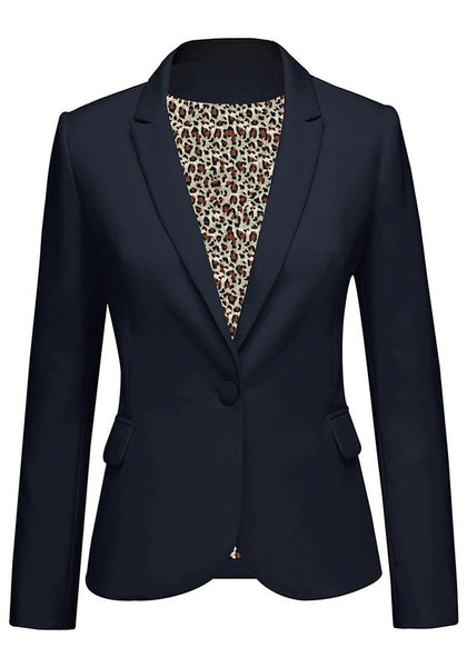 Front view of navy leopard lining back-slit notched lapel blazer's 3D image