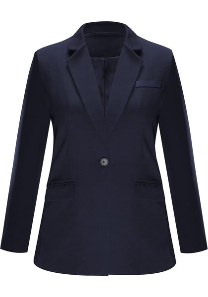 Front view of navy notch lapel single-button basic blazer's image