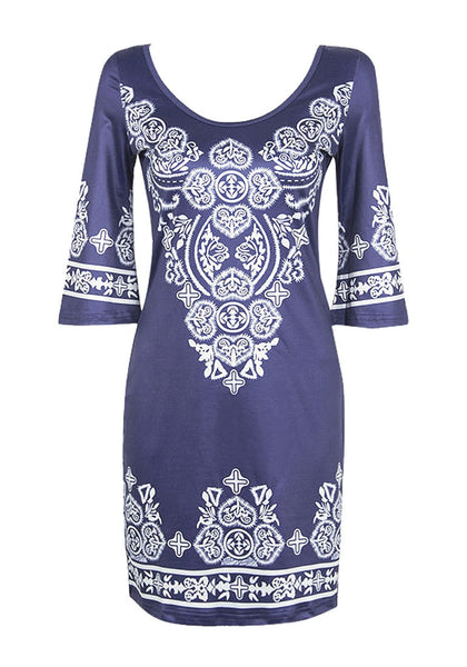 Front view of navy paisley print dress' 3D image