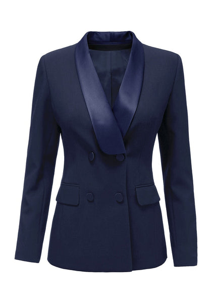 Front view of navy satin lapel front-buttons blazer's 3D image