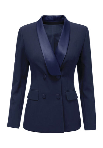 Navy Satin Lapel Front-Buttons Blazer