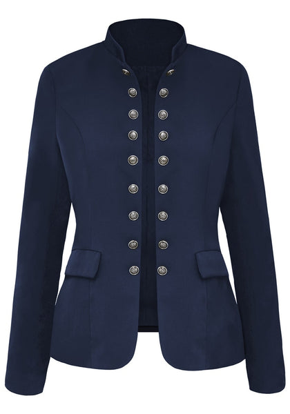 Front view of navy stand collar open-front blazer