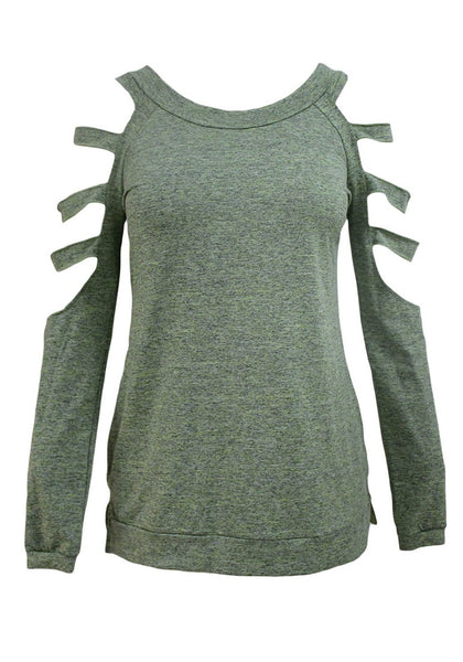 Front view of olive green cold-shoulder hollow-out blouse's 3D image