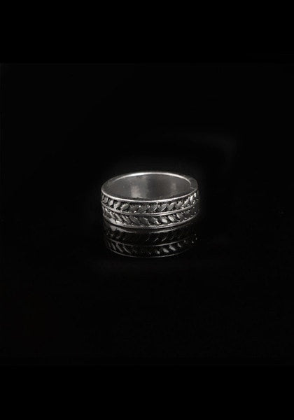 Front view of oxidized silver ring