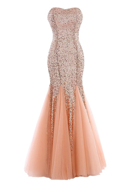 Front view of peach sequin mermaid evening gown