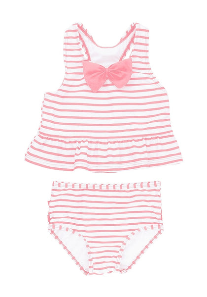 Front view of pink bow-front striped ruffle two-piece baby swimsuit's 3D image