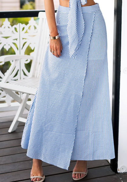 Front view of pinstripe wrap maxi skirt