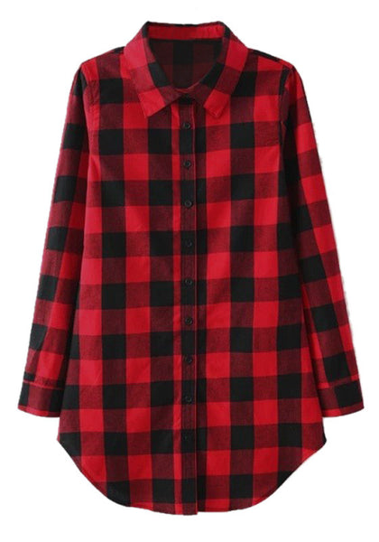 Front view of plaid flannel tunic shirt