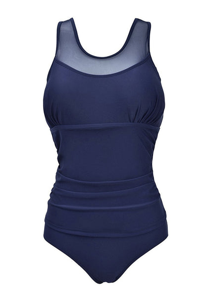 Front view of plus size navy illusion neck ruched swimsuit's 3D image
