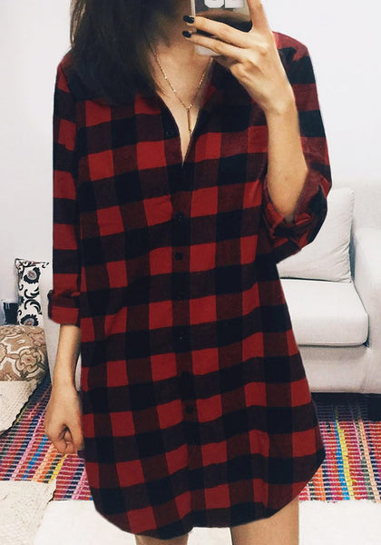 Front view of pretty model in plaid flannel tunic shirt
