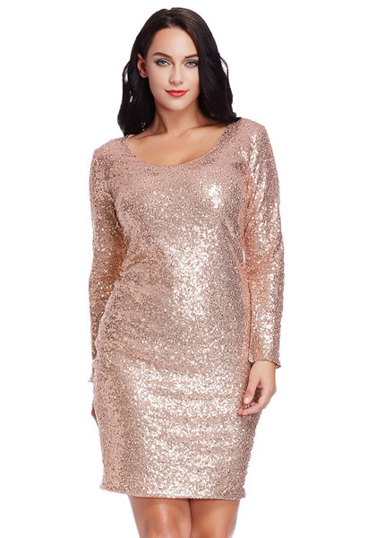Front view of pretty model in plus size champagne sequined party dress